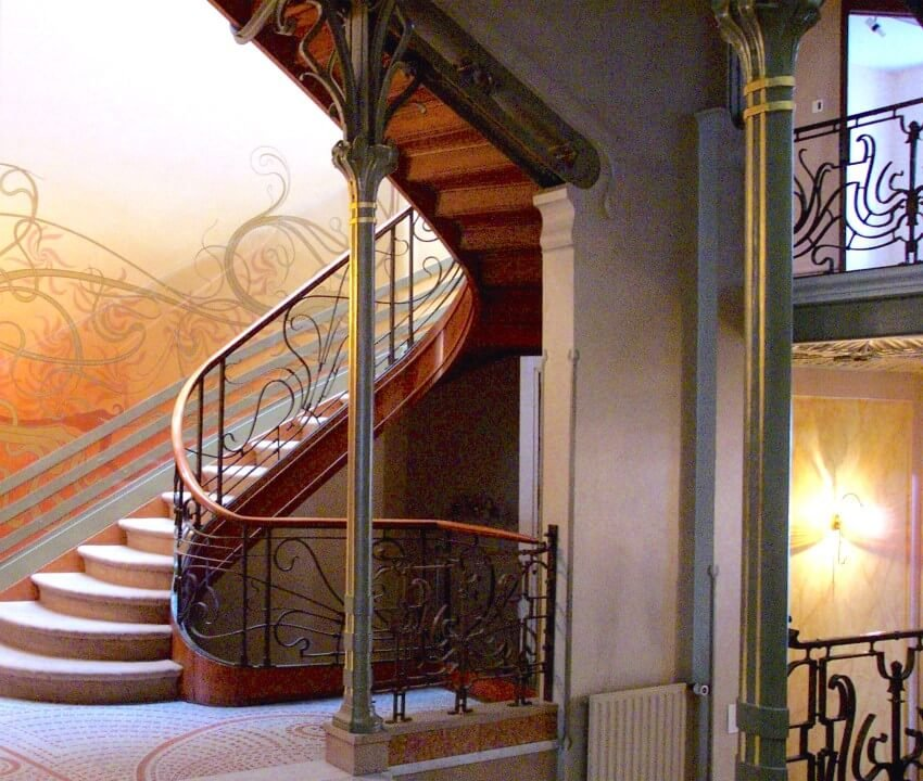 The Art Nouveau stairway of Tassel House in Brussels, designed by Victor Horta
