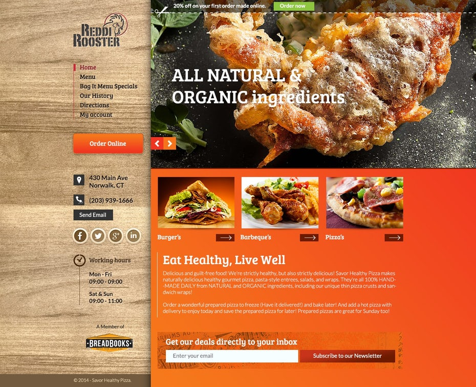 orange and wood-toned website for a chicken restaurant