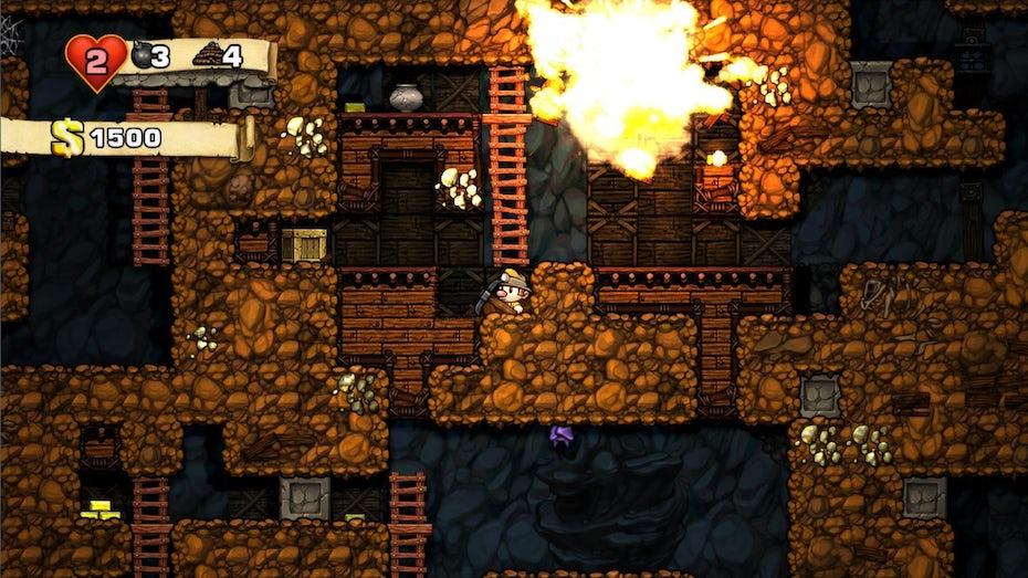 Screenshot of Spelunky gameplay