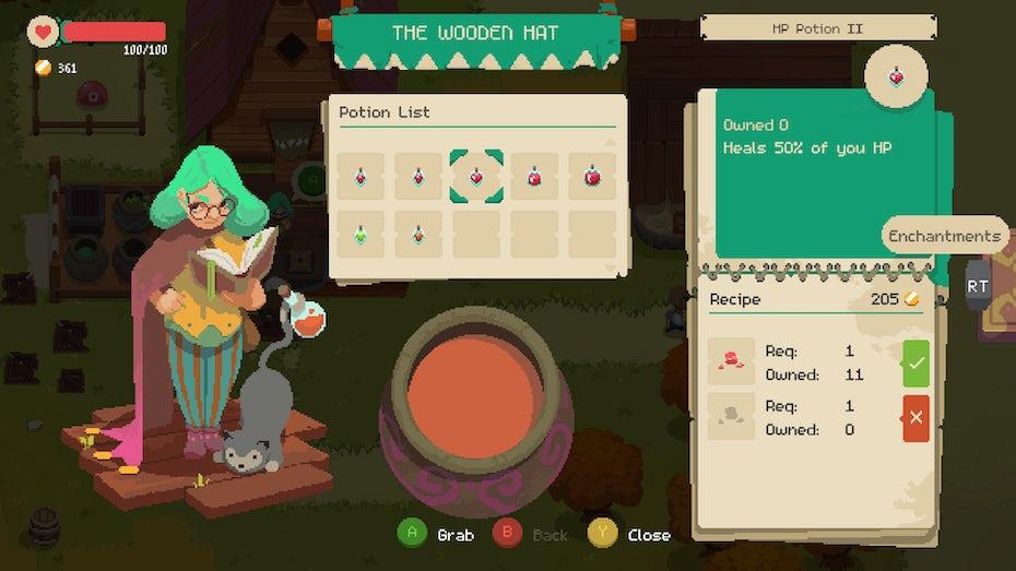 Moonlighter UI menu screenshot