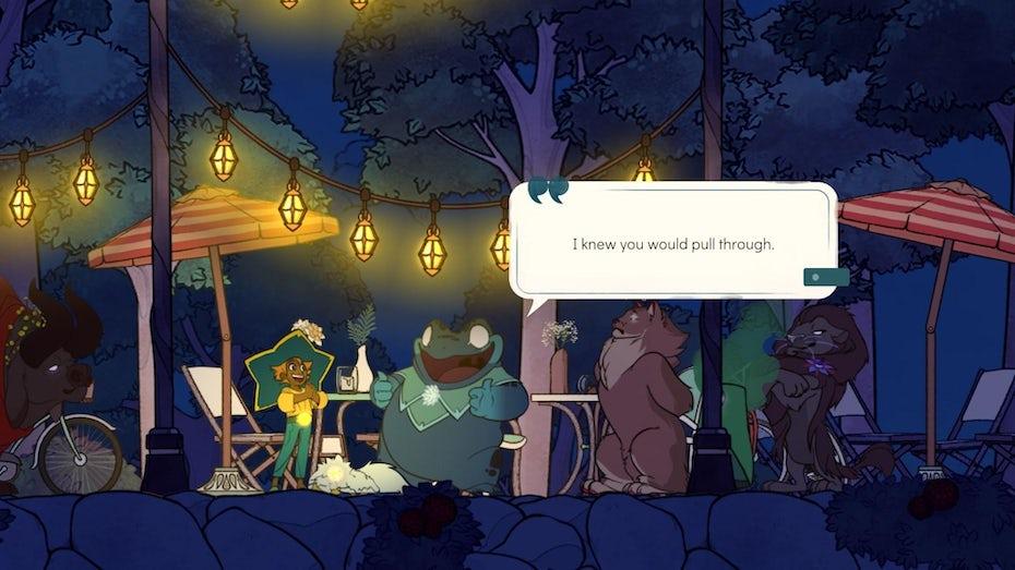 Screenshot of Spiritfarer's dialogue box