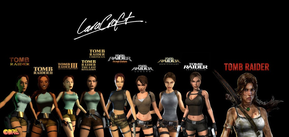 Evolution of Tomb Raider logos