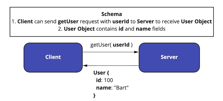 Example of a client making request to a server based on schema specification