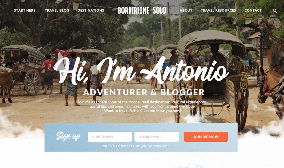 Travel blog design with handwritten-style font