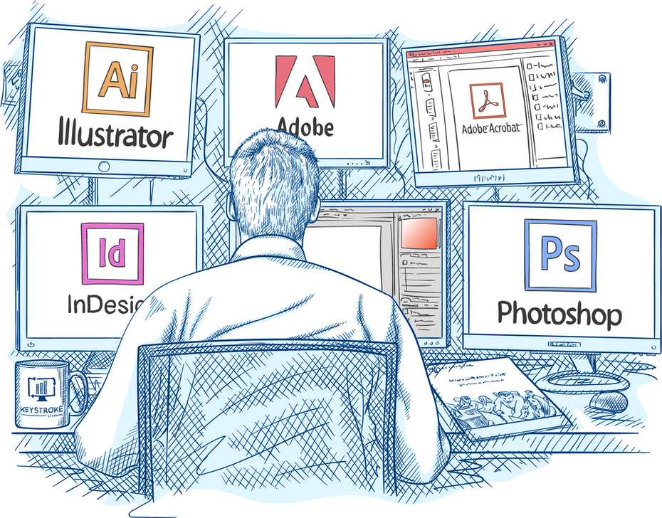 Sketch-style illustration of a designer working at multiple computers