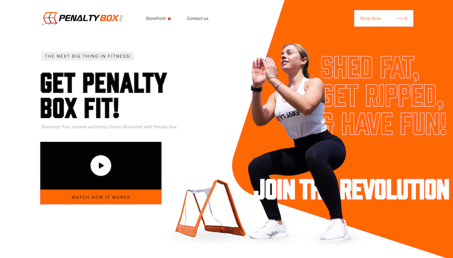 Homepage web design for fitness brand