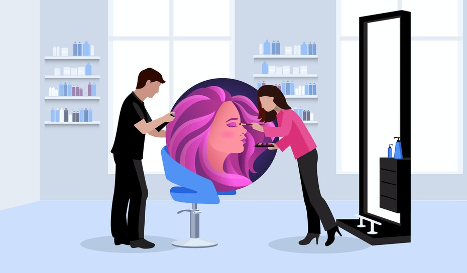 Illustration of two stylists working on their brand and client in a salon