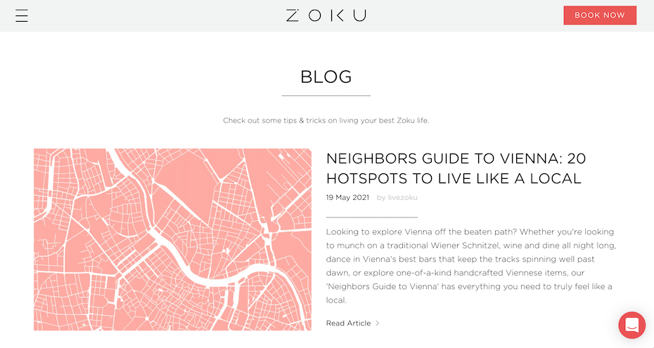 hotel website example with a blog focused around their culture