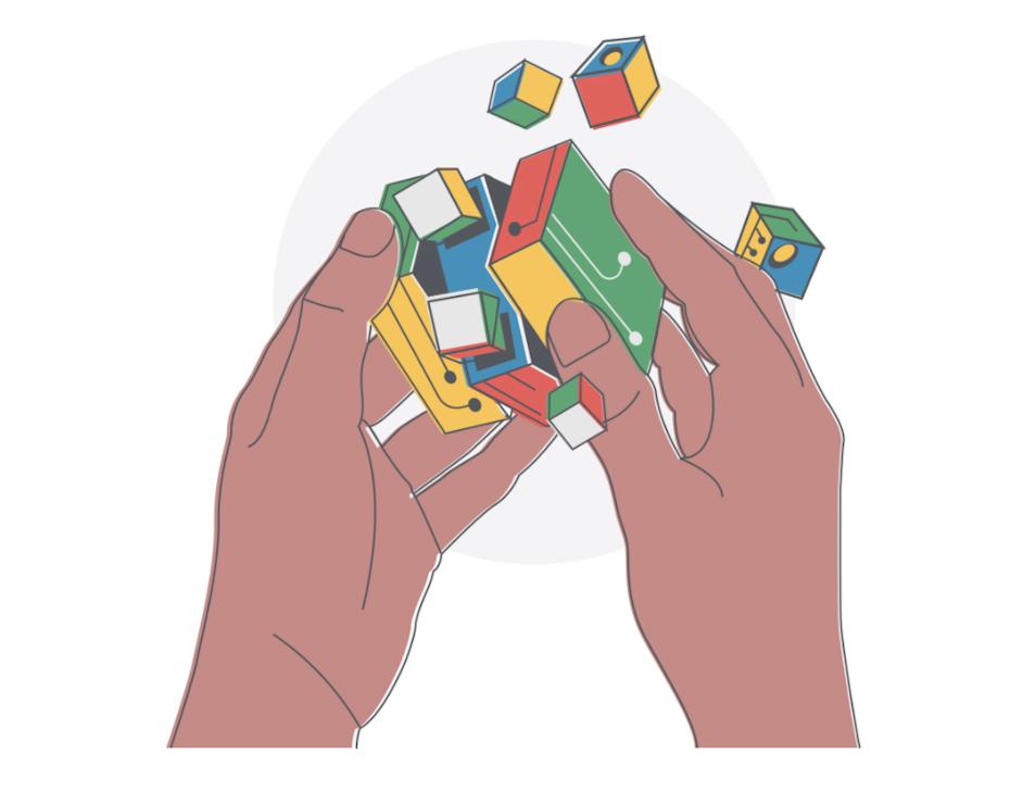 Conceptual illustration of a rubix cube breaking a part