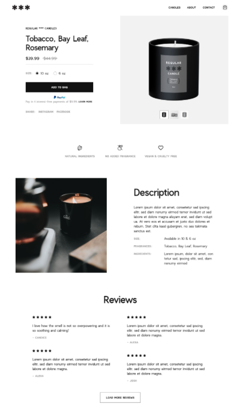 Product page for a candle brand