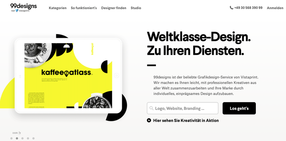 screenshot 99designs homepage