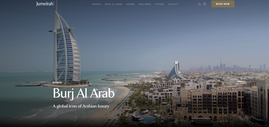 hotel website example with impressive aerial footage