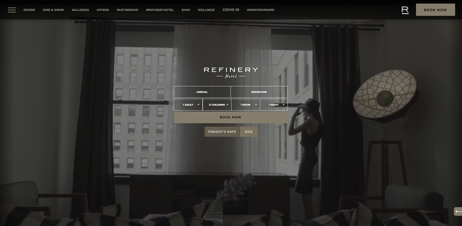 hotel website example with upfront booking form