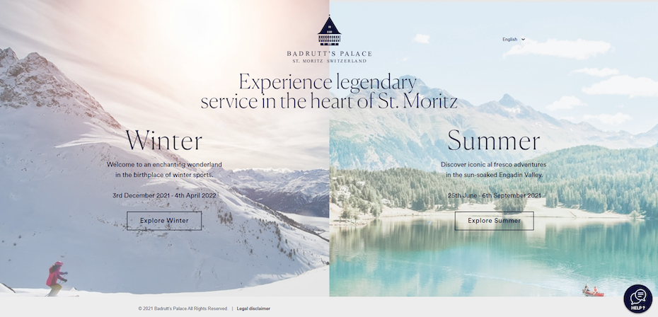 hotel website example with landing page for all seasons