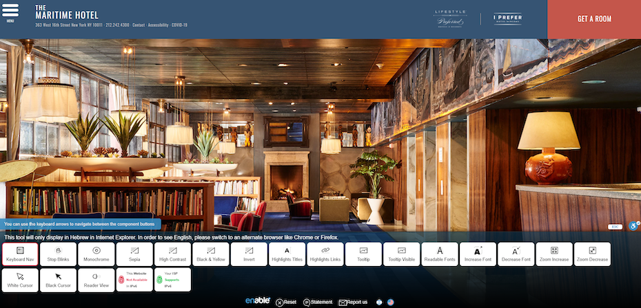 hotel website example with web accessibility plugin