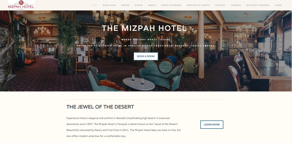hotel website example that boasts of ghouls and luxury