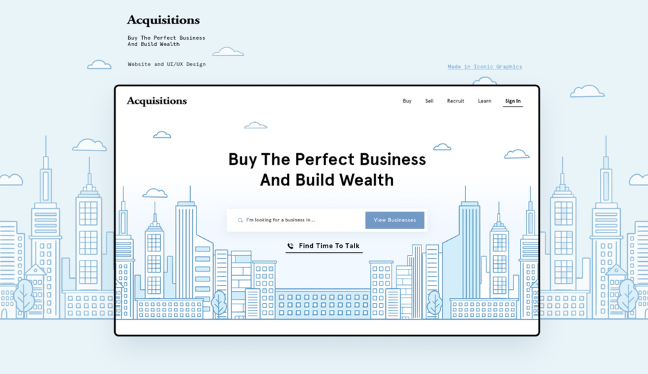 Homepage web design for an acquisitions platform