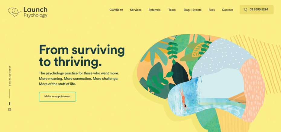 Colorful homepage web design for psychology brand