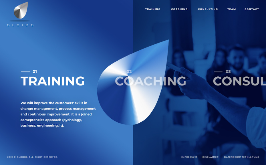 Homepage web design for consulting company