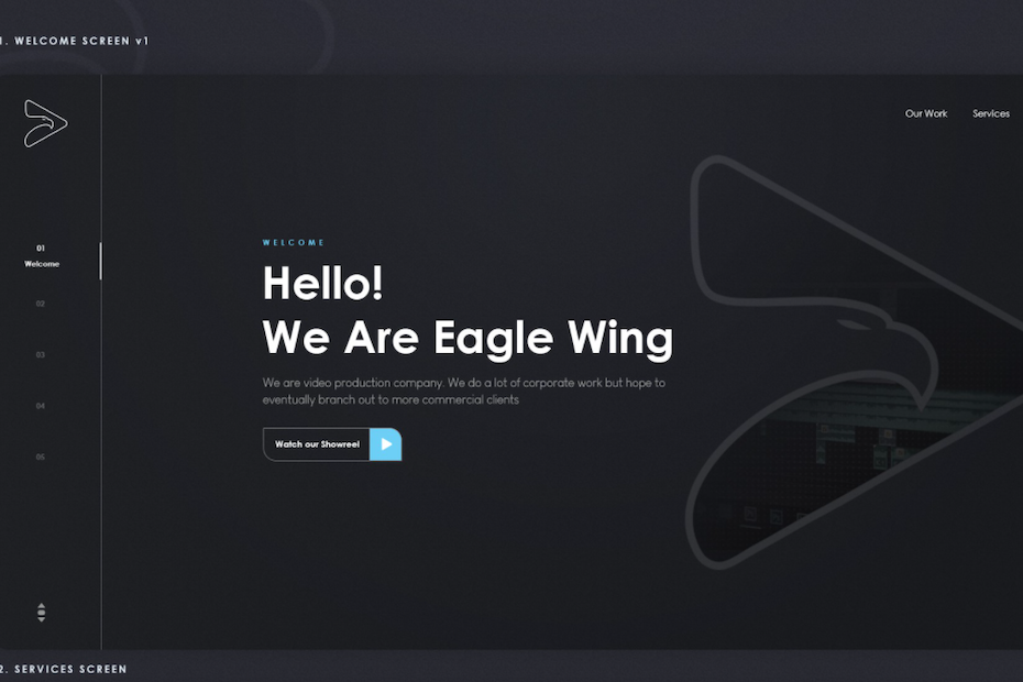 Homepage web design for production company