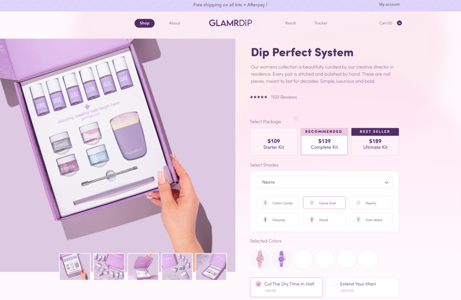 Homepage web design for cosmetics