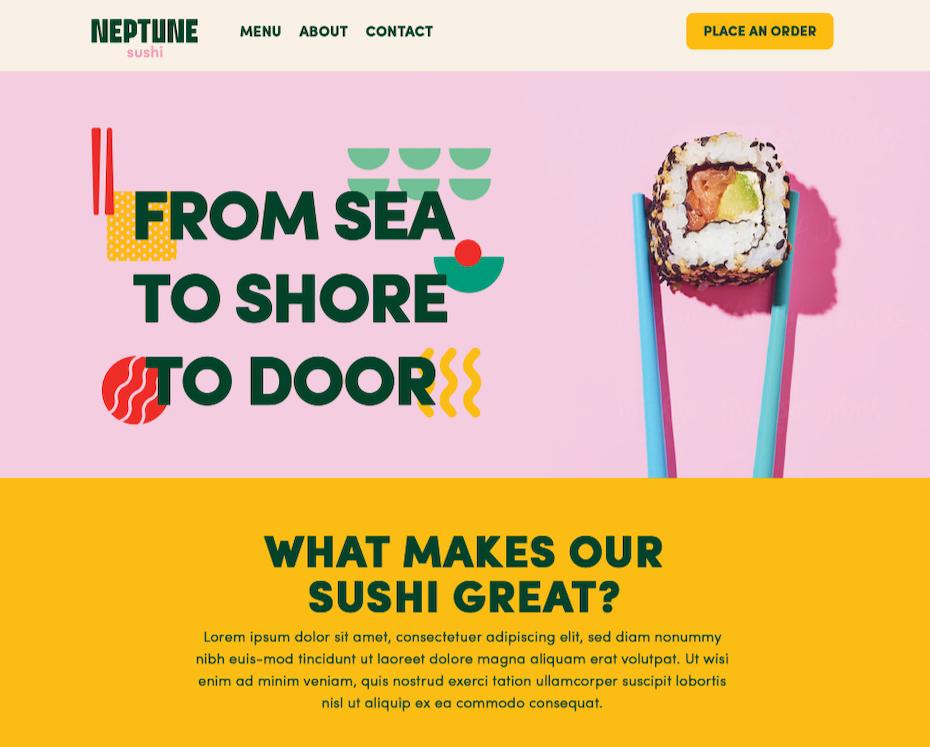 Colorful sushi restaurant web design