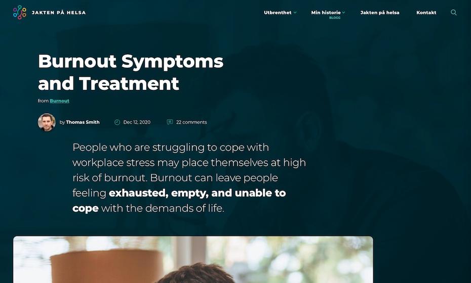 Health blog design in dark mode