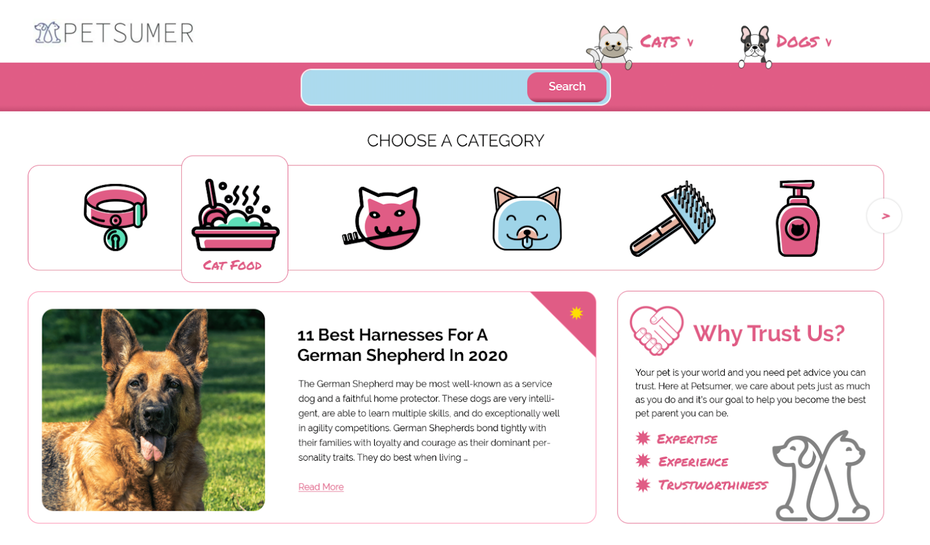 Pet care blog design
