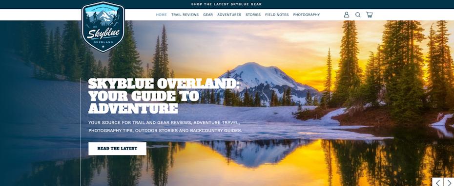 Web design for adventure brand