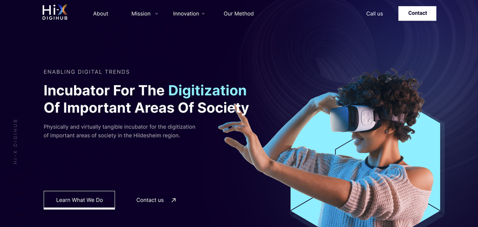 Homepage web design for a digital agency