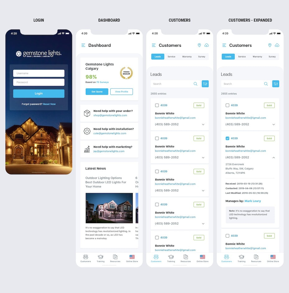 UI design for the first four steps of a customer journey: login, dashboard, customer, customer expanded]