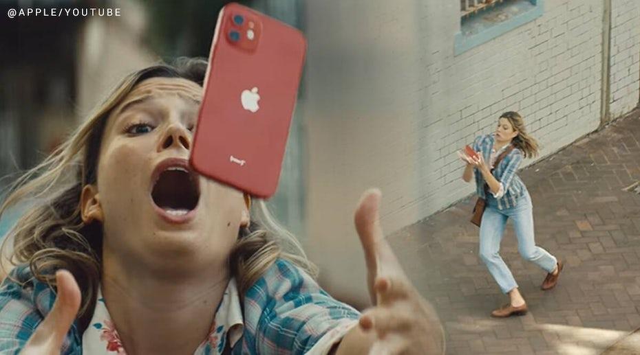 "stills from Apple ""fumble"" ad"