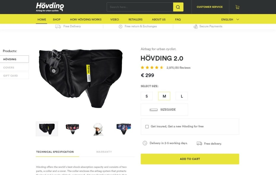 Product page design for an cyclist airbag