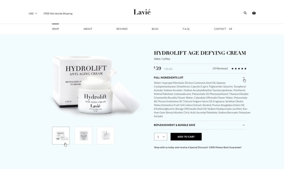 Product page design for a skin care