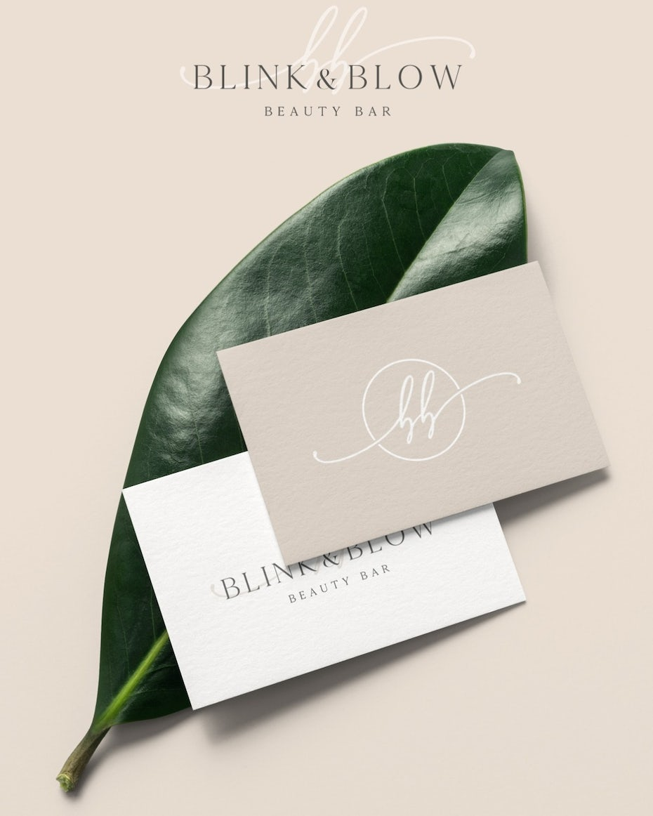 blink and brow beauty bar business card in neutral tones