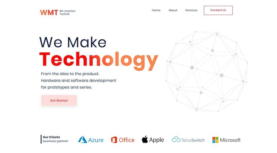 tech company header design