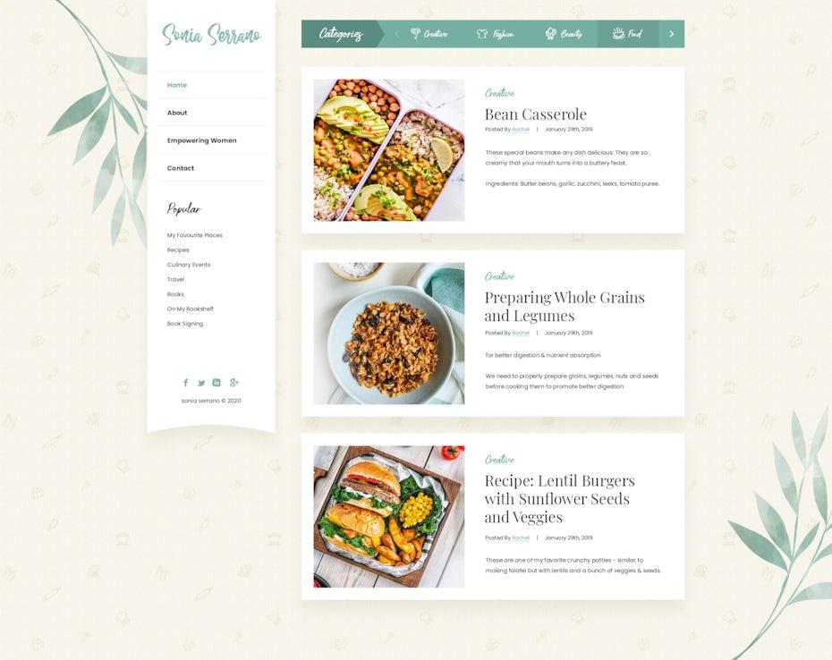 Food recipe blog design