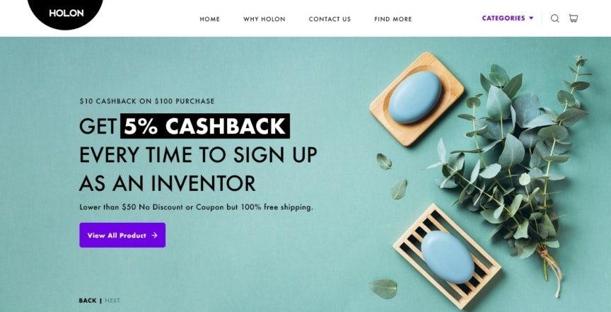 Homepage web design for investment platform