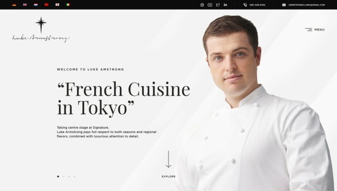 Homepage web design for a chef