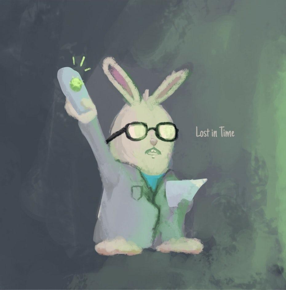 Scientist bunny illustration