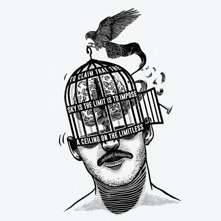 Conceptual illustration show a person with their mind caged