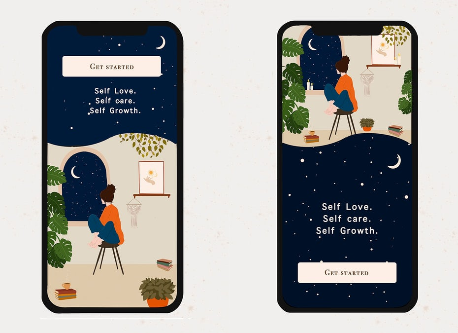 App design and illustration for self-care