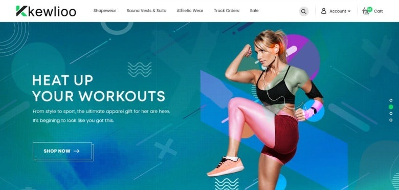Homepage web design for a fitness brand