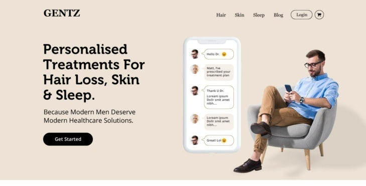 Homepage web design for men's health services