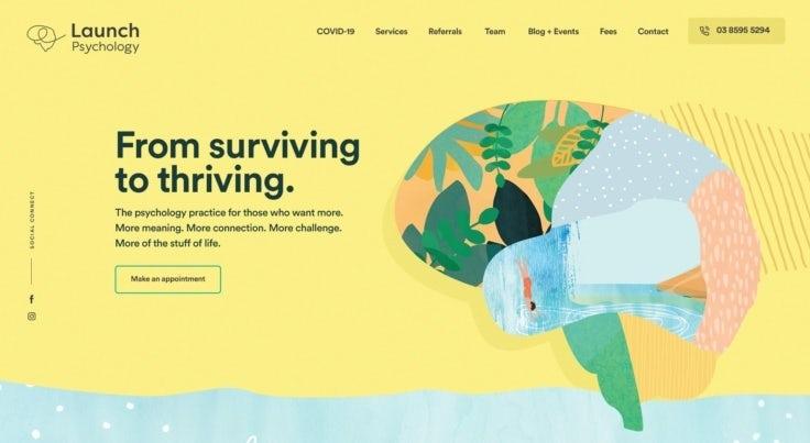 Colorful web design for psychology brand