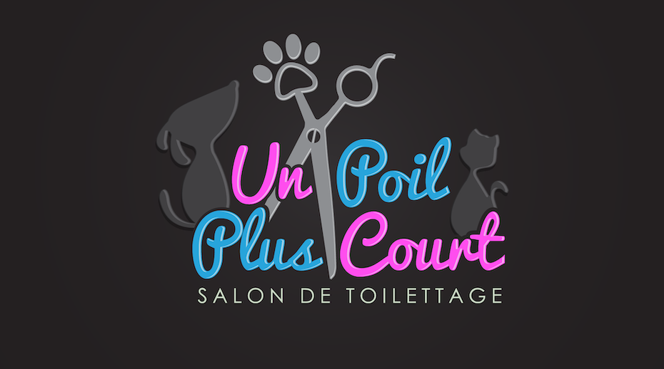 salon logo for pets in black, pink and blue