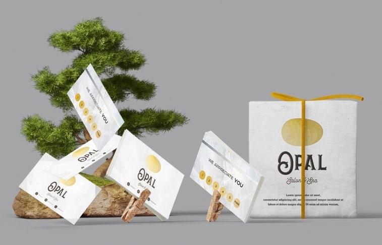 opal salon business card and logo design