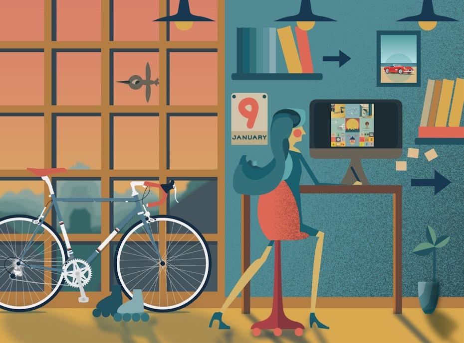 illustration of freelancer at work