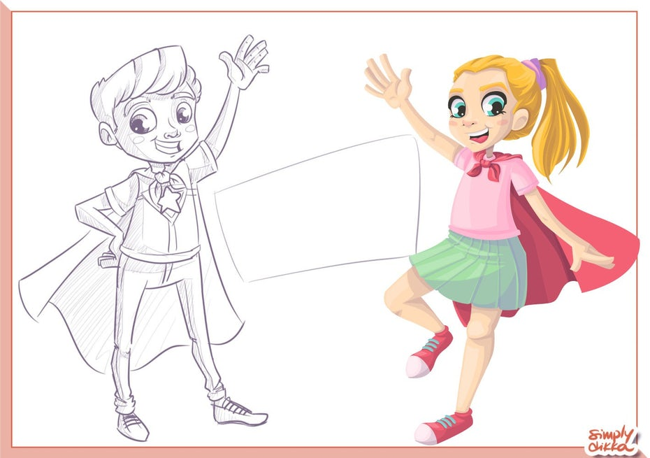 Illustration of a superhero showing the sketch and the finished product