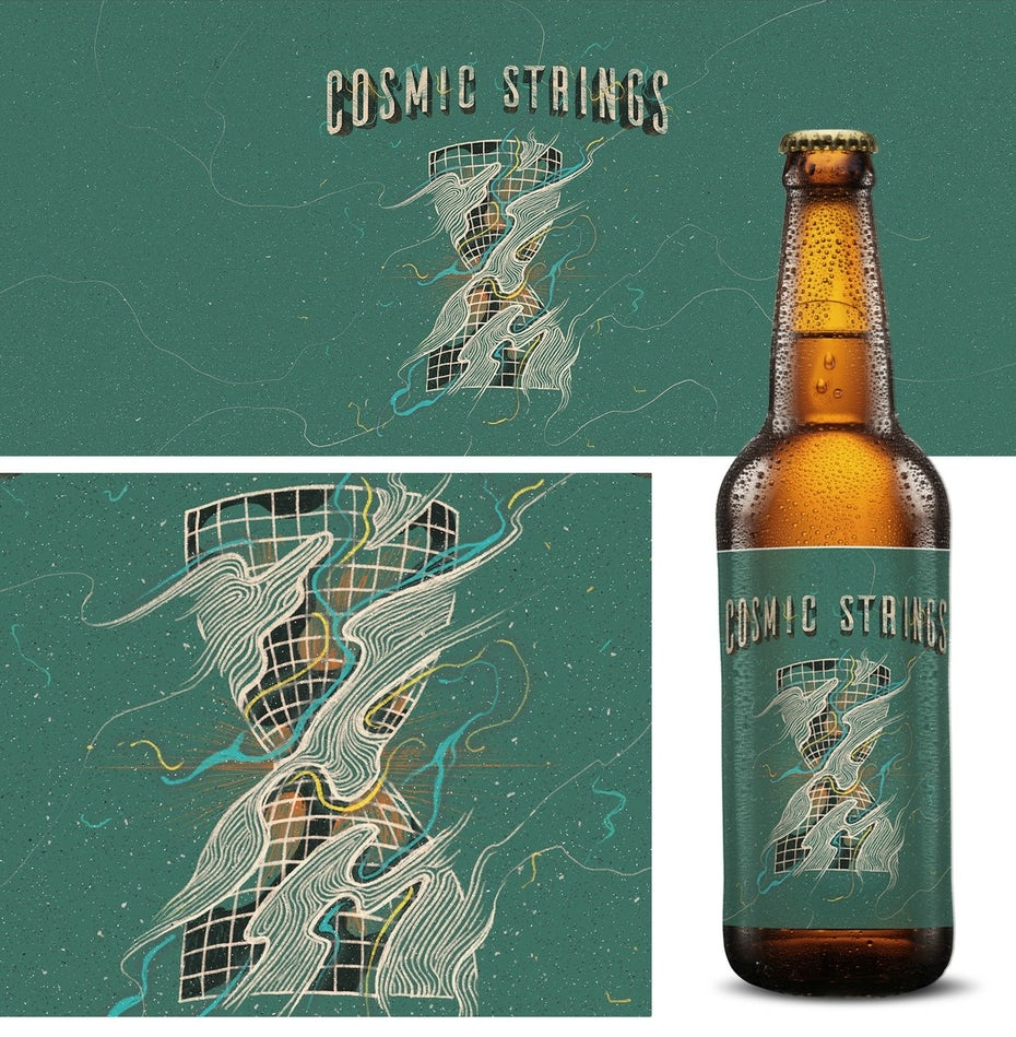 Beer label design showing a cosmic hourglass